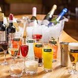 フリードリンクは6種類以上のワイン含む40種類以上が飲み放題!