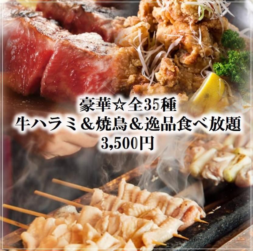 豪華★焼鳥&牛ハラミ食べ放題3500円