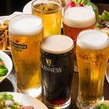 厳選の生ビール4種とドラフトサイダー(生シードル)を常備!