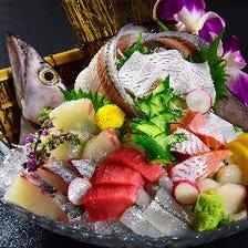 料理長自慢の「前獲れ旬魚のお造里」