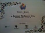 ◇イタリアで開かれた ピザ世界選手権3位の認定証◇