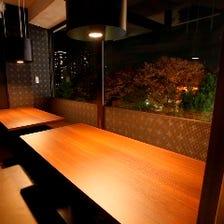 上野の街を一望!風情ある夜景個室