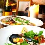 鮮魚と有機野菜の前菜