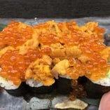 【うにイクラのせ】巻寿司ランチ(ミニサラダ・お椀・小鉢)