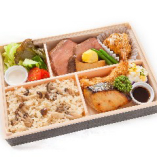 ローストビーフとさわら西京焼き弁当