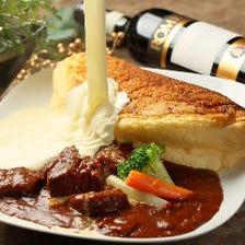 スフレオムレツ ~牛バラ肉の赤ワイン煮込み~