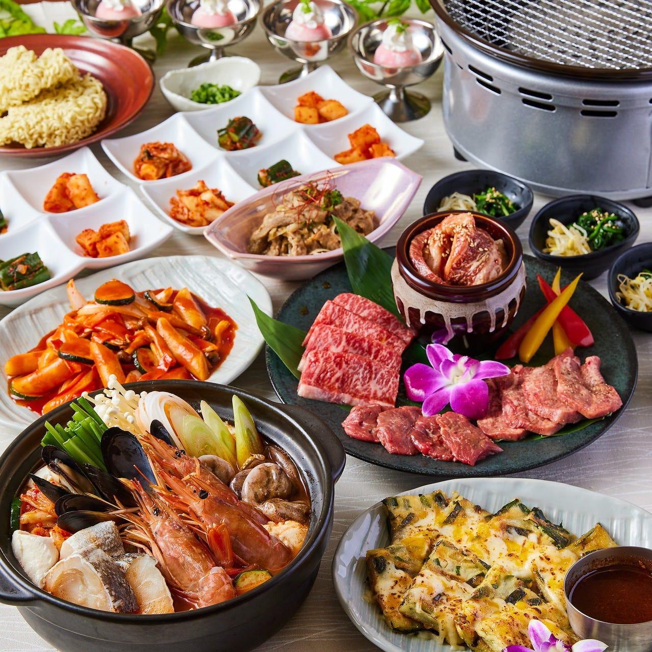 2時間飲み放題付コース多数! お得に韓国料理を堪能!