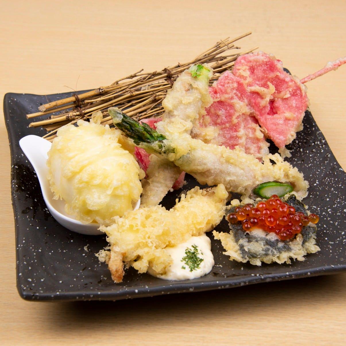 料理長おすすめの天ぷら5種盛り合わせ!迷ったらこれ!