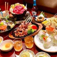 忘新年会◆ちゃんこ鍋orすき焼きの選べる鍋含む人気8品+2時間半飲放題付き5,000円【三社コース】