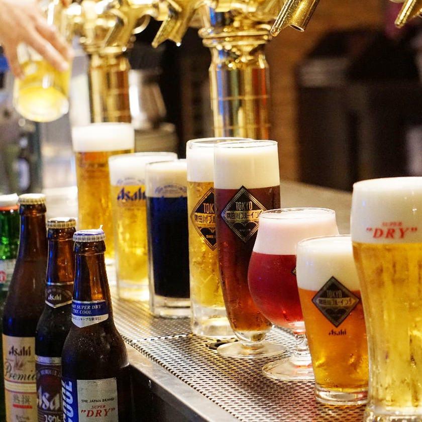 飲み放題のお客様は+200円でビール14種にグレードアップ!