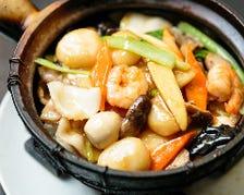 海老、イカ、豚肉の五目野菜土鍋ご飯