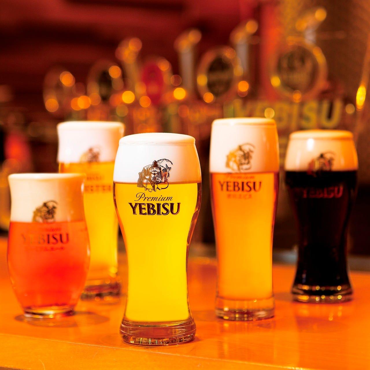 【90分飲み放題付:プレミアムプラン!】ヱビスビール全9種が全てお楽しみいただける特別なプランです。