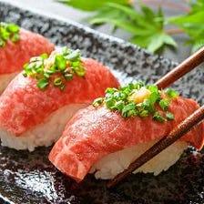 A5ランクの和牛炙り肉寿司(3貫)
