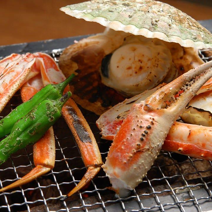 かんてき(七輪)で焼く新鮮魚貝!