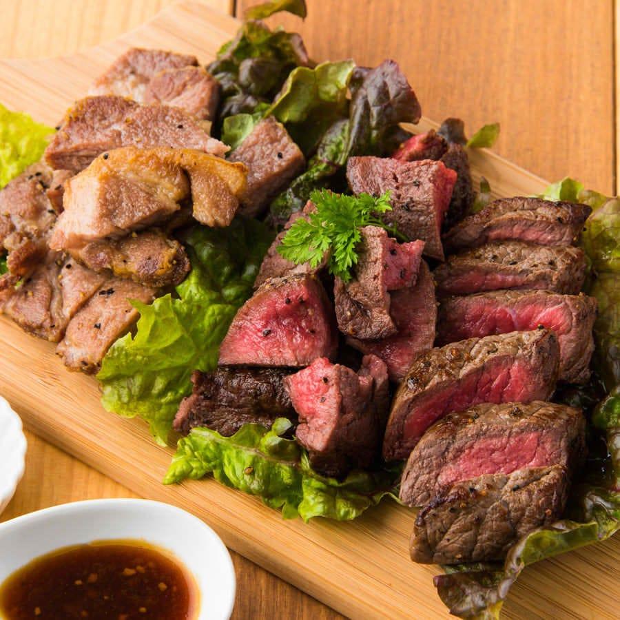栗坊自慢のステーキ食べ比べがコースにも登場!期間限定です★