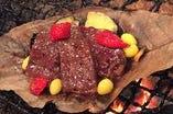 牛ロースと秋野菜の朴葉焼き