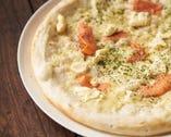 スモークサーモンとクリームチーズピザ