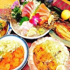 5,000円(税込)店主おすすめコース 【新鮮な魚介や地元の食材を楽しめます】※2時間飲み放題付き