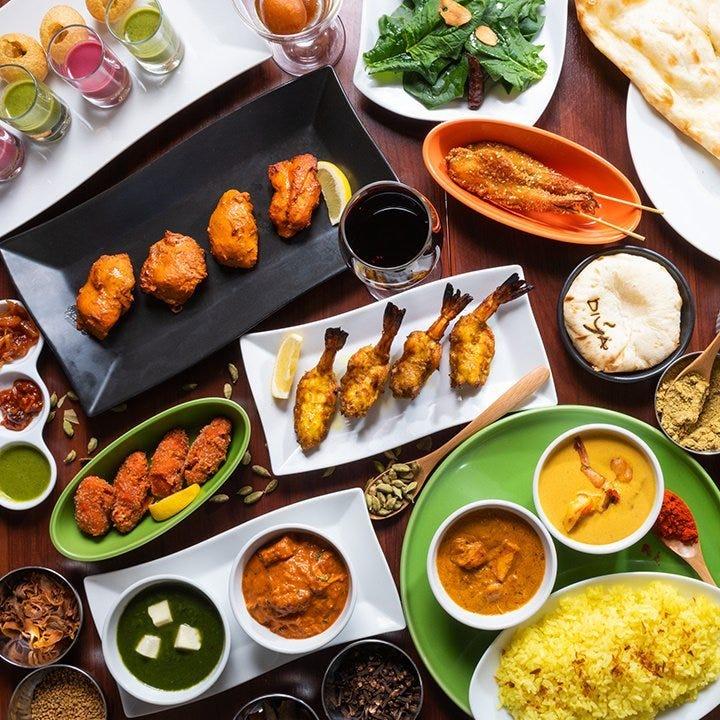 【月~木限定★3時間飲み放題4500円】タンドリー料理、選べるカレー、ビリヤニなど本格インド料理8皿