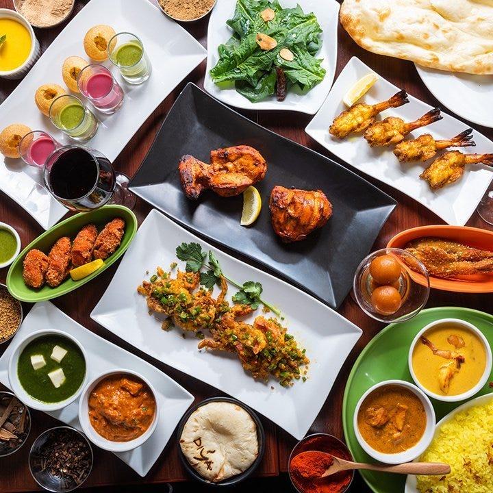 【2時間飲み放題付4500円】本場シェフによるタンドリー料理、選べるカレーなど本格インド料理全8皿