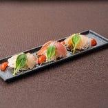 みかん鯛とマグロのカルパッチョ~昆布ソース~
