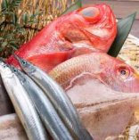 『厳選された肉と新鮮な魚』