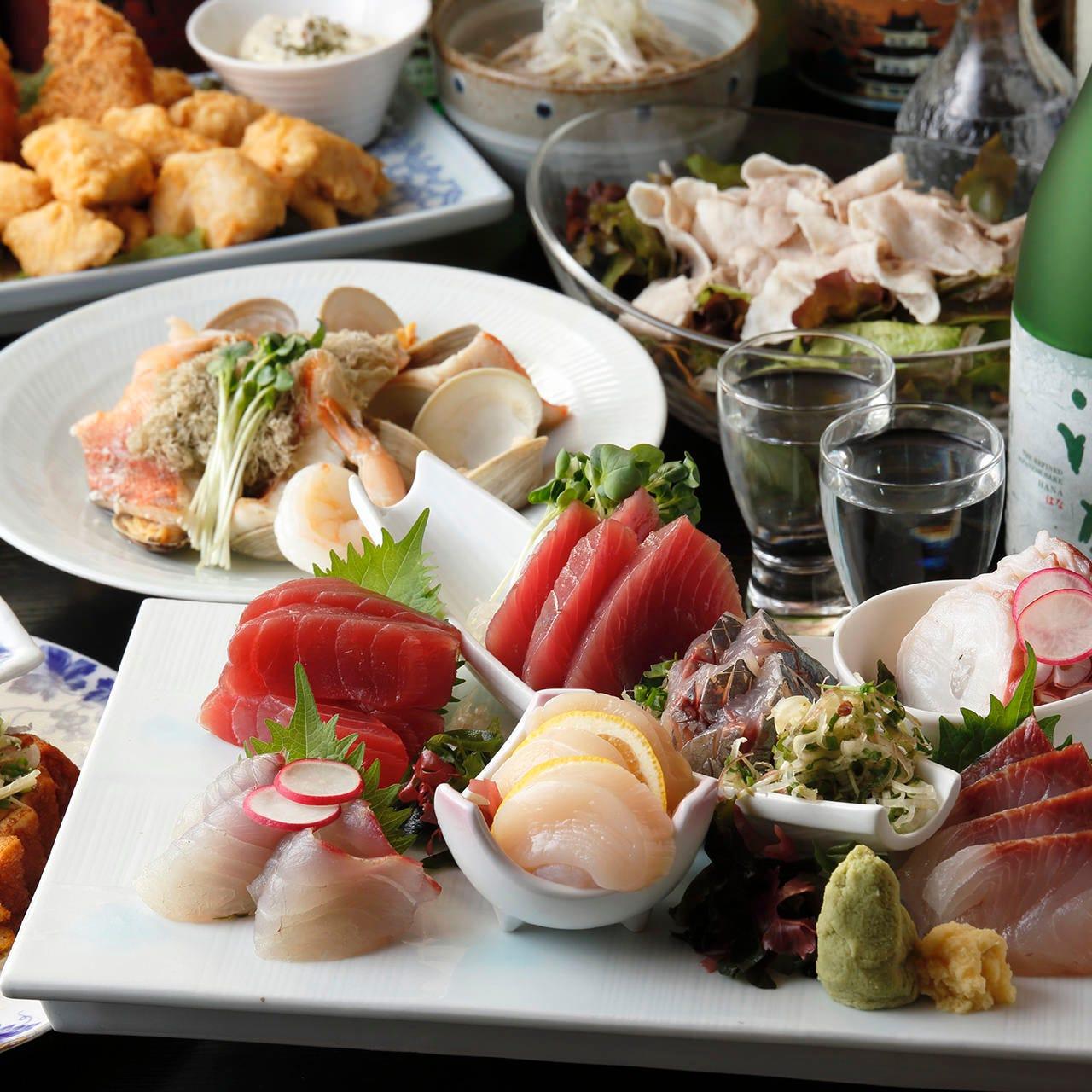 【お料理のみ】鮮度抜群のお刺身盛り合わせやオードブルなど大満足の『おはなのご宴会特別コース』(全7品)