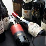赤ワイン一例、メニューリストの他にも多数ご用意しています。