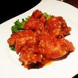 鶏肉唐揚げのチリソース