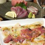 鮮魚をカルパッチョ盛り or お刺身盛りよりお選びできます!