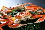 越前蟹フルコース (「蟹刺し」または「焼き蟹」付き)