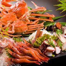 【おススメ】越前ズワイ蟹・セイコ蟹 フルコース(「蟹刺し」「焼き蟹」それぞれ御二人様で一皿)