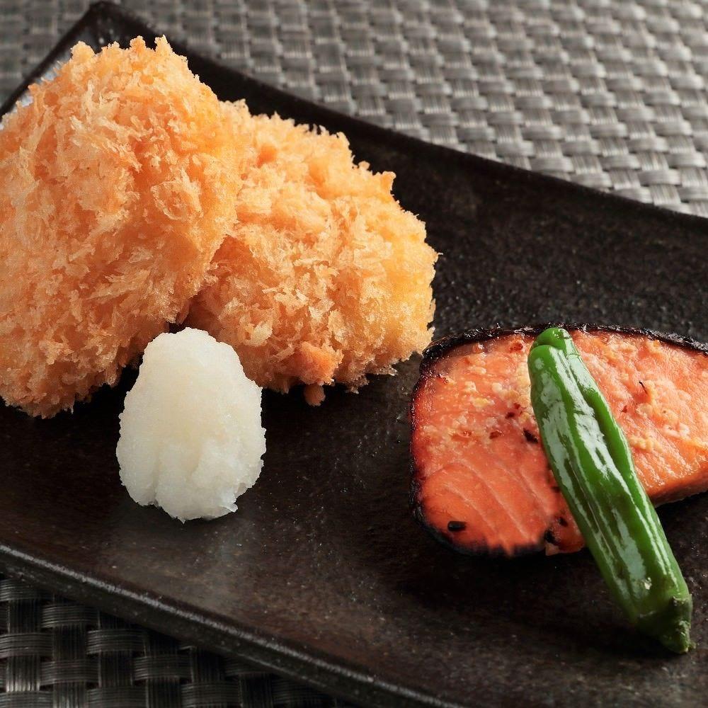 おすすめの一品! 銀鮭味噌焼とカツオだしのコロッケ
