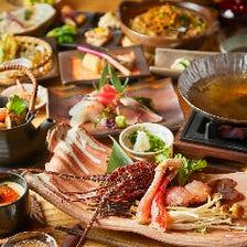 伊勢海老とズワイ蟹のしゃぶしゃぶを堪能!自慢の逸品フルコースの『旬の厳選食材コース』全15品