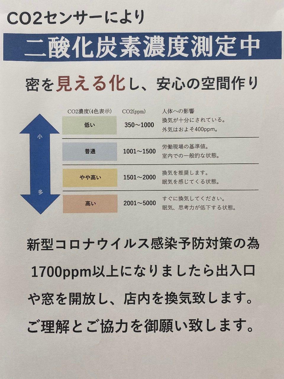 二酸化炭素濃度を測定し、数値に合わせ店内の空気を管理します