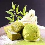京わらび餅と抹茶アイス