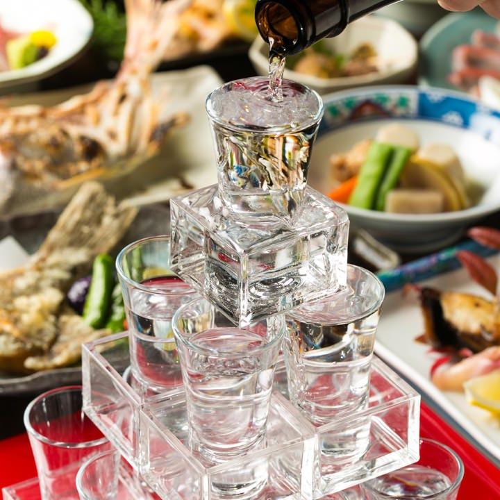 ご宴会を盛り上げる日本酒タワーを オプションでご用意しております!