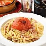 ローストトマトとハーブポークのスパゲッティ