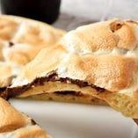 チョコレートとマシュマロの織りなすデザートピザ
