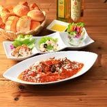 選べるスパゲッティと前菜3種セット<パン食べ放題>