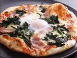北本法蓮草とベーコンのビスマルクPizza