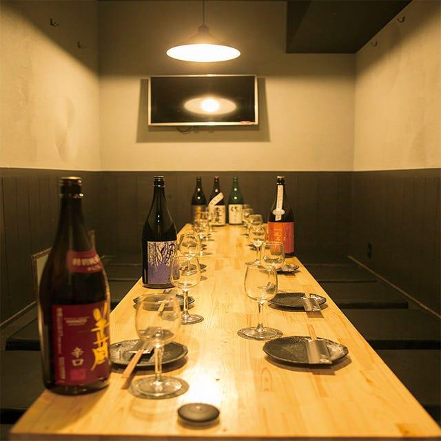 テレビモニター付で自由度の高い宴会が可能な完全個室あり