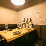 2名様からご利用いただけるテーブル個室。和食デートにぜひ