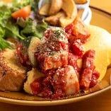 2月LUNCHSET 「ごろごろ野菜のトマトチーズオムレツ」フレンチトースト