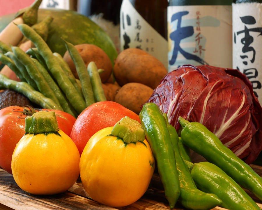 産地直送の有機野菜や新鮮なお魚。