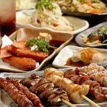 かわ焼き・豚バラなど焼き鳥各種に博多料理が充実!