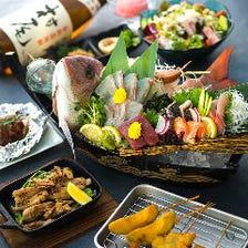 刺身5種盛や地鶏…源べえコース3000円