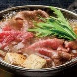 山形の味噌を用いた特製ダレの割下で焼く米沢牛すき焼きをぜひ!