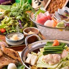 【地鶏尽くし】旬の鮮魚×冬季限定地鶏鍋食べ放題コース3時間飲み放題付き3,980円→2,980円