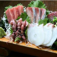 """旬の鮮魚を""""贅沢""""にお刺身で!"""